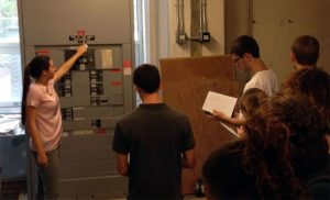LEED Lab students learn about the electrical setup of Nelson Hall and opportunities to save energy.