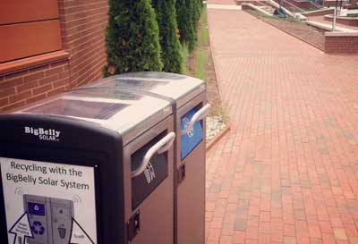 Solar-powered waste and recycling bins outside of Talley Student Union increase efficiency of waste management on campus.