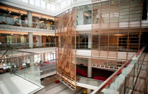 Talley Student Union's open design utilizes ample daylighting, which contributes toward the building's sustainability efforts.
