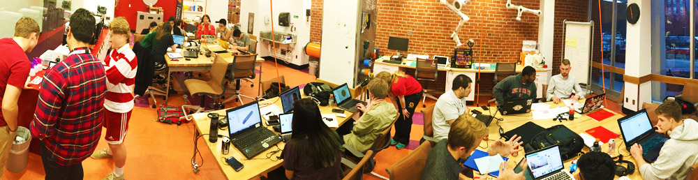 Make-a-thon participants packed the NCSU Libraries Makerspace as they created campus sustainability solutions.