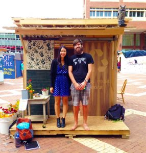 Iezzi, right, with fellow NC State Steward Amelia Fujikawa werre among the team that built the Hodge Podge Lodge for the 2015 campus Shack-a-thon.