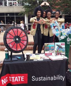 Delta Sigma Theta Sorority hosted Delta Going G.R.E.E.N. (standing for Global Restoration of Environmental Empathy Now) on NC State's Brickyard to spread awareness of sustainability on campus as well as providing information on how to live more sustainable lives and why it's important.