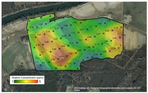 Arsenic concentration across a field in the Dan River basin.