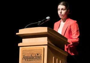 Alex Hsain speaking about her research at the 2016 Appalachian Energy Summit in Boone, N.C.