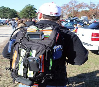 Before, during and after football games, a small team of researchers carried the mobile air monitor in a backpack equipped with GPS location devices. A video camera collected visual data that allowed researchers to identify sources of any recorded increases in emissions.