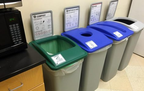 In strategic locations such as break rooms, Administrative Services III building occupants can compost material such as food waste, paper plates and napkins, coffee grounds and tea bags. There are even composting bins in restrooms for paper towels.