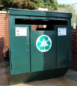 Look for these green dumpsters outside residence halls for all your recycling needs.