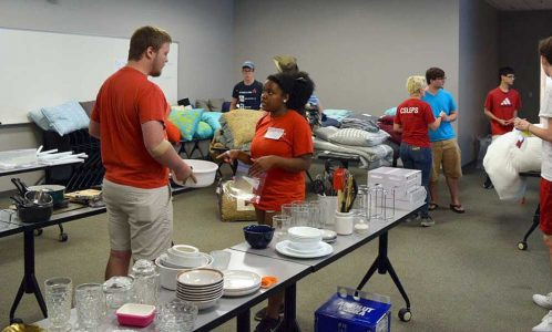 Volunteers and student shoppers at the Pack2Pack Store in SAS Hall on Aug. 14. More than 100 students connected with much-needed household items.