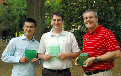 Left to right, Carlos Vega, Dr. Jonathan Casper and Rick Gardner are the 2013 recipients of NC State's Green Brick Award.