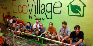 Among EcoVillage's first activities was painting the Free Expression Tunnel on campus.