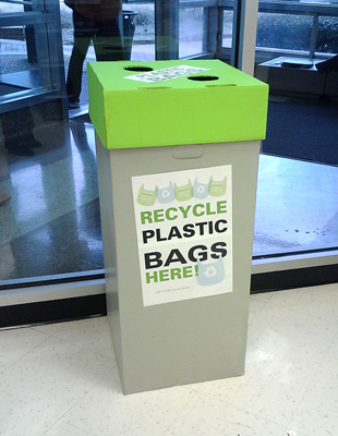 Look for these plastic bag recycling bins inside select campus C-Stores.