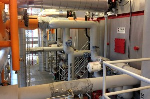 Inside the newly-renovated Yarbrough Steam Plant, which features new, more-efficient boilers.
